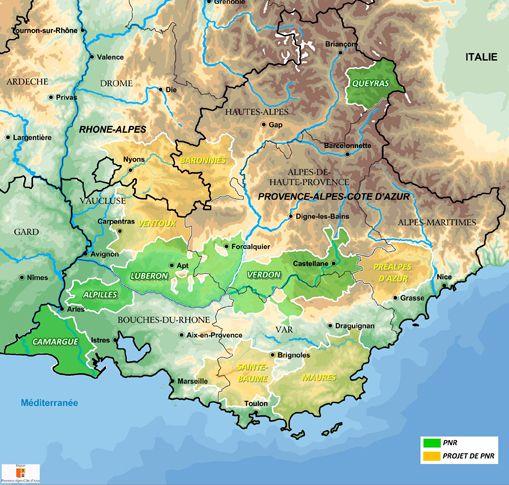 Carte des parcs nationaux PACA (Provence Alpes Côte d'Azur)