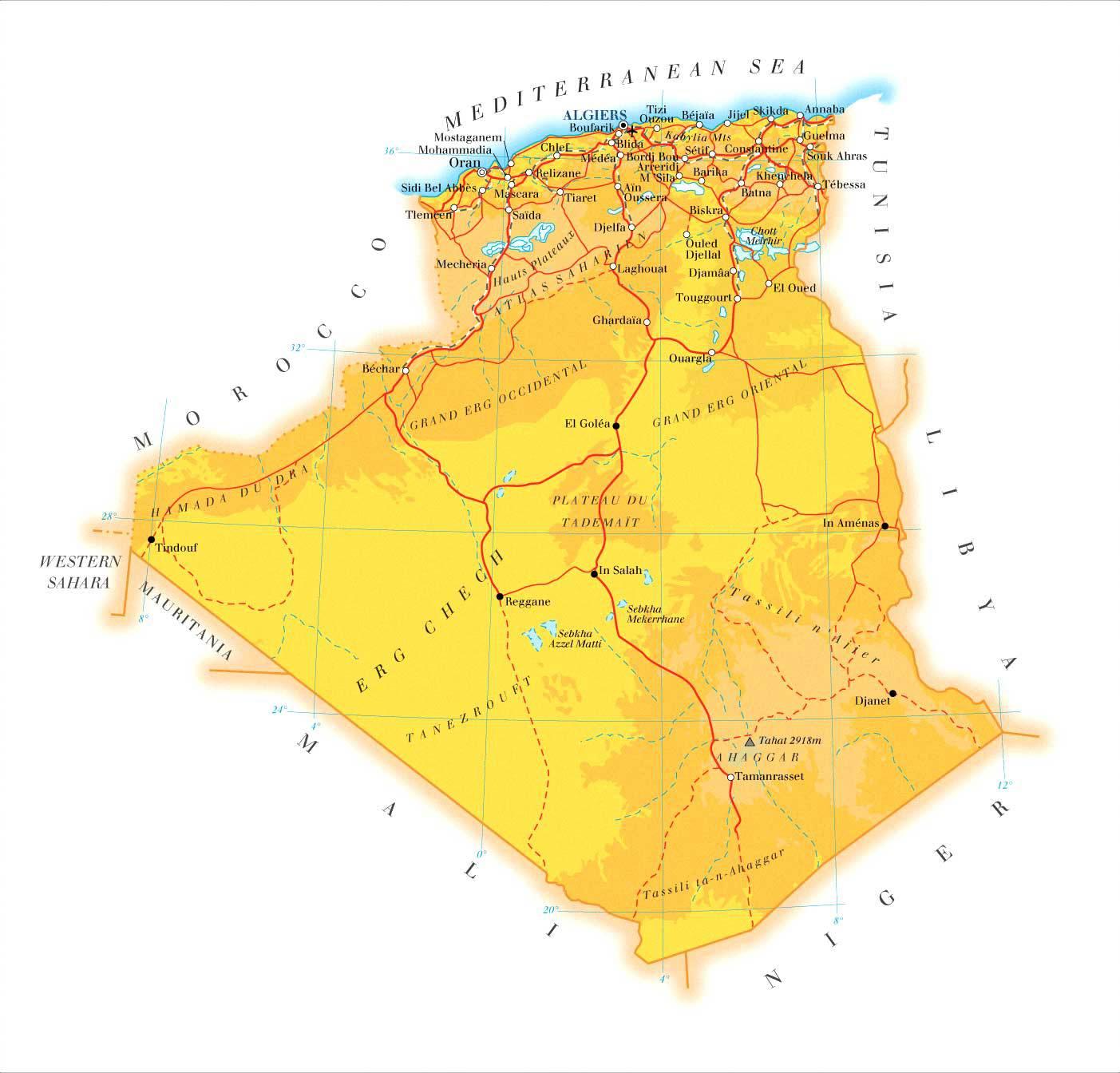 Carte physique de l'Algérie