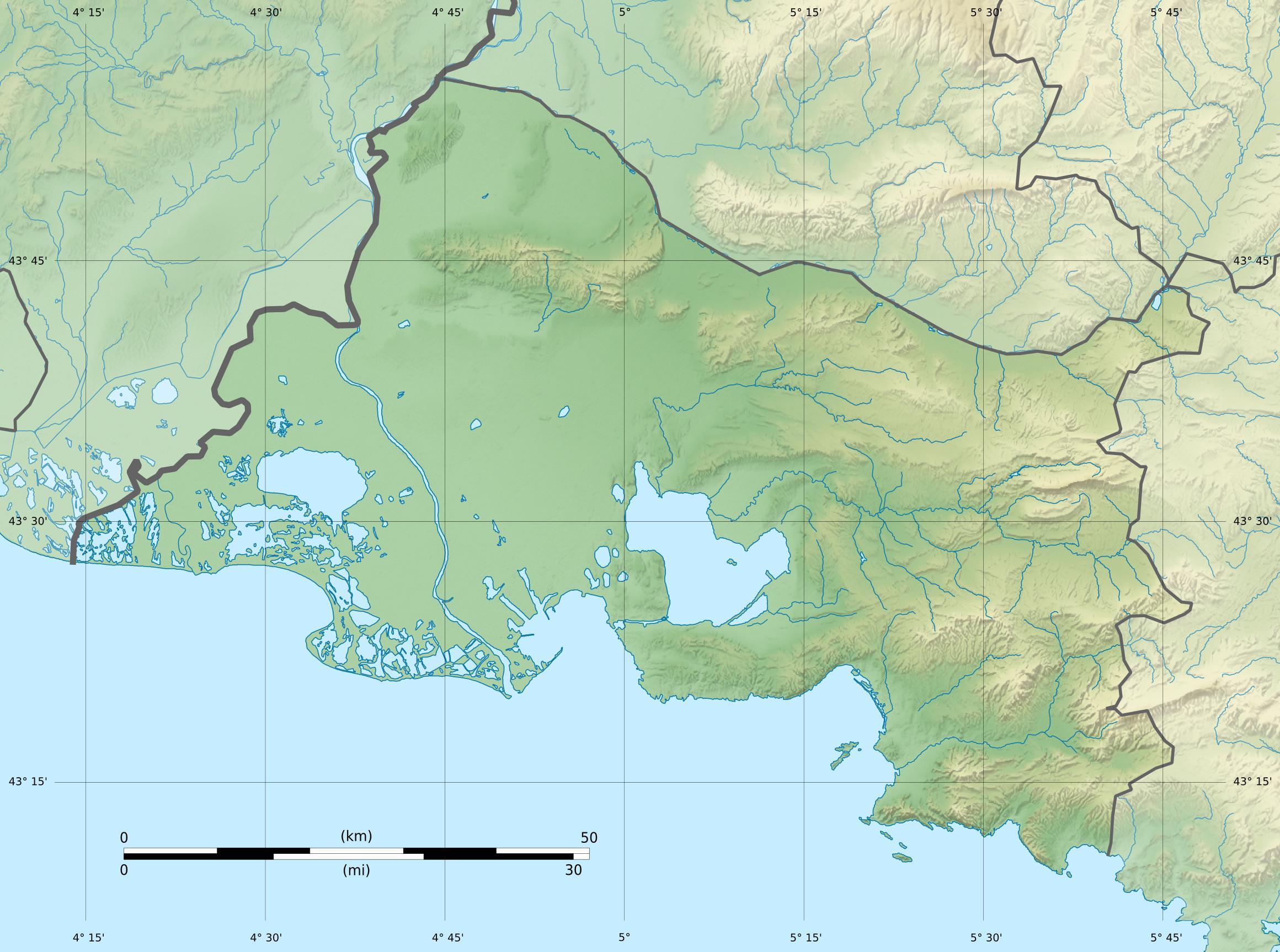Carte physique Bouches-du-Rhône