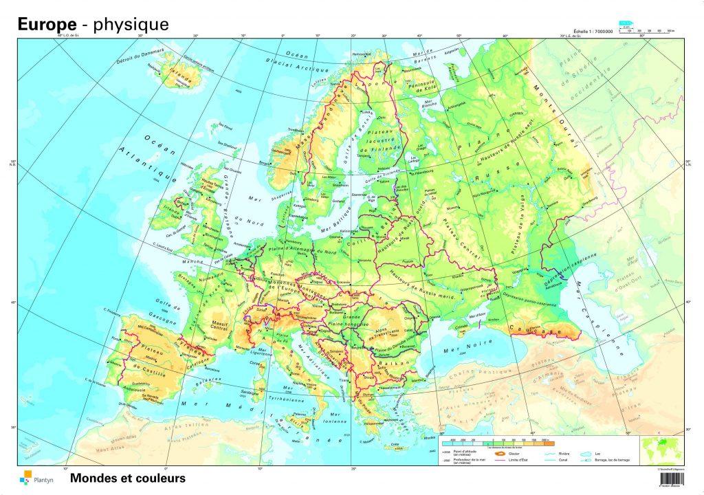 Carte physique de l'Europe