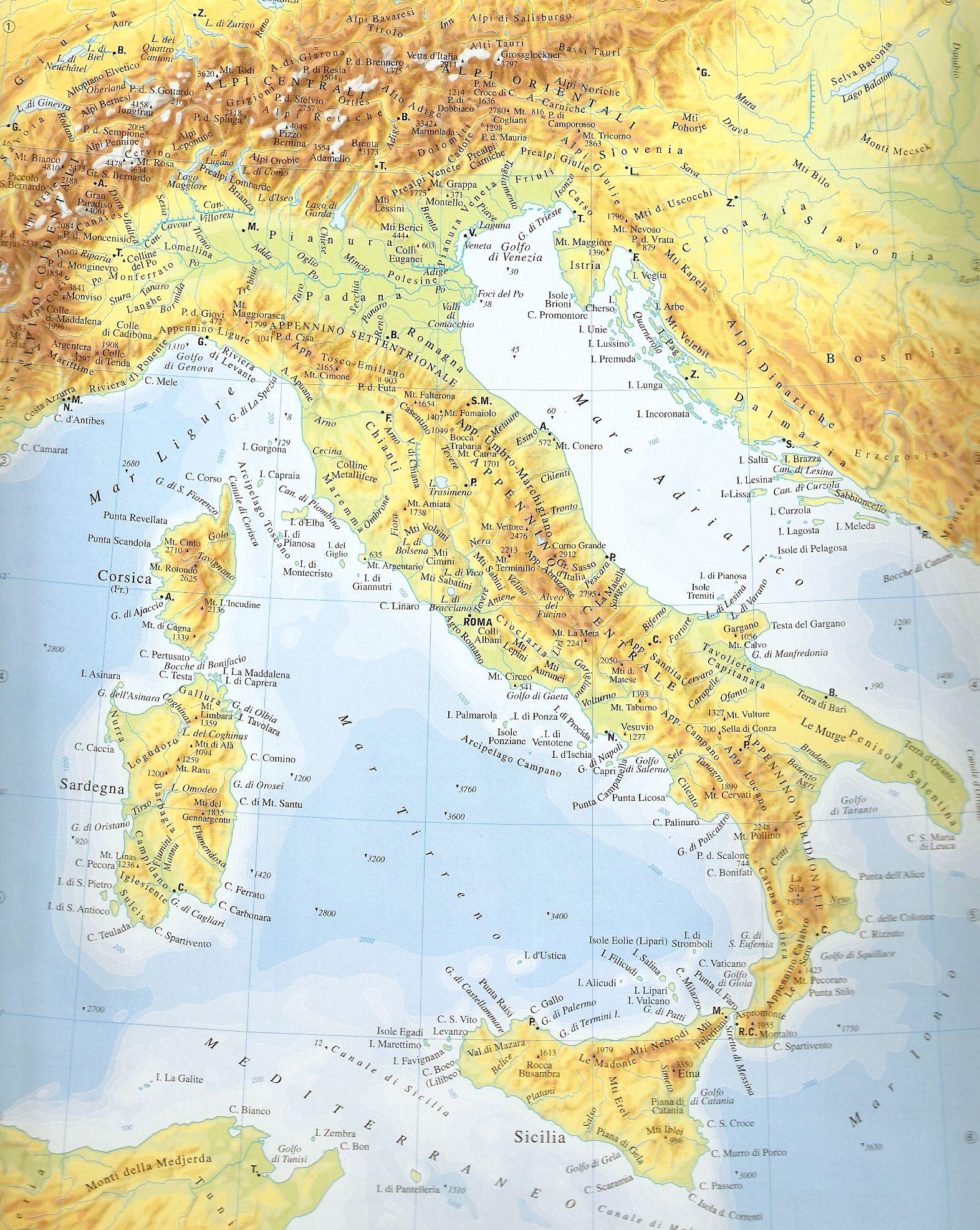 Carte physique de l'Italie