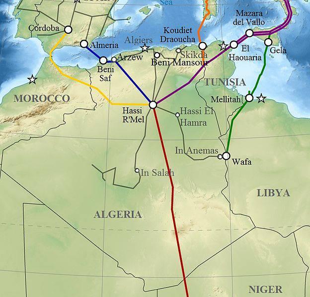 Carte des pipelines en Algérie