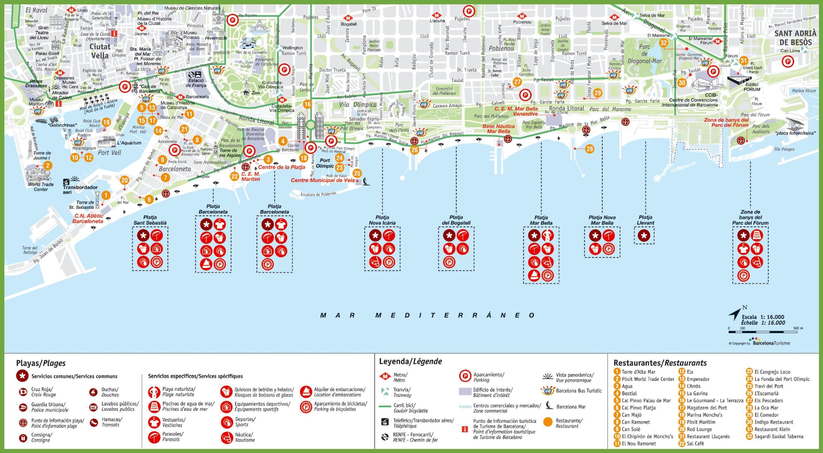 Carte des plages de Barcelone