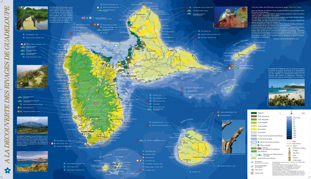 Carte des plages de la Guadeloupe