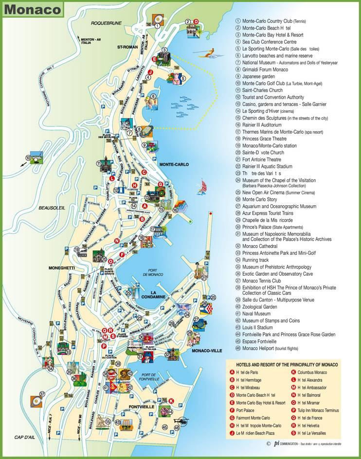 Carte des points d'intérêts à Monaco