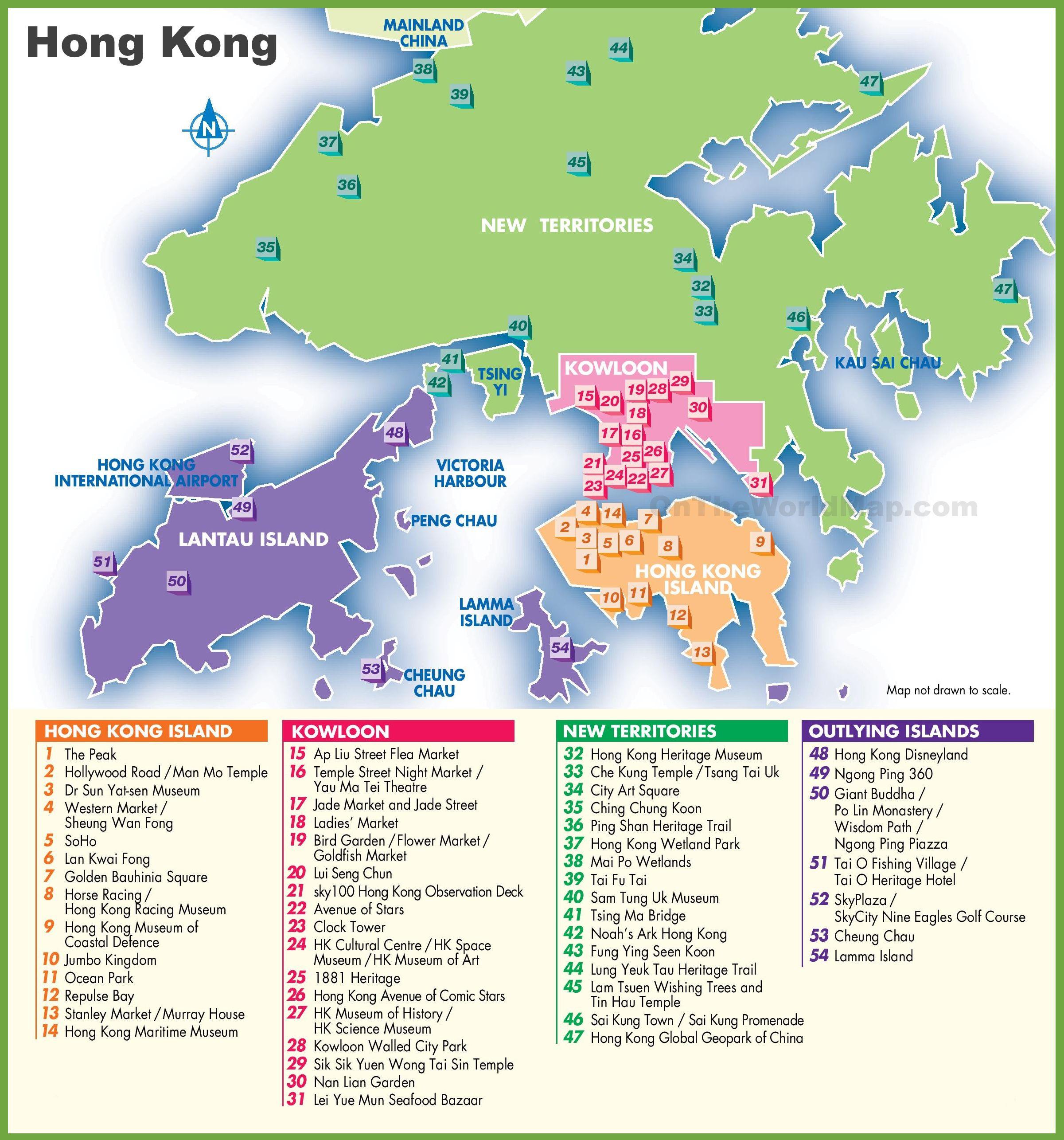 Carte des points d'intérêts à Hong Kong