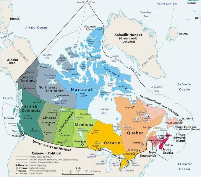 Carte politique du Canada