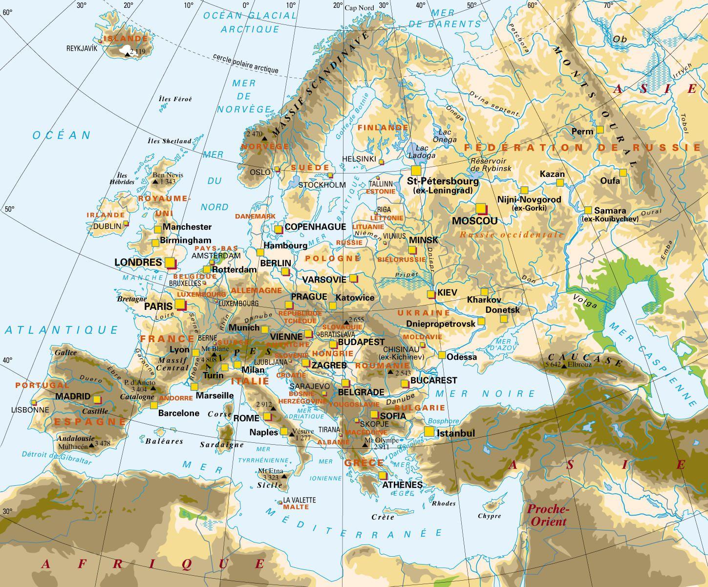 Carte Europe Relief Et Fleuves.Carte De L Europe Cartes Reliefs Villes Pays Euro Ue