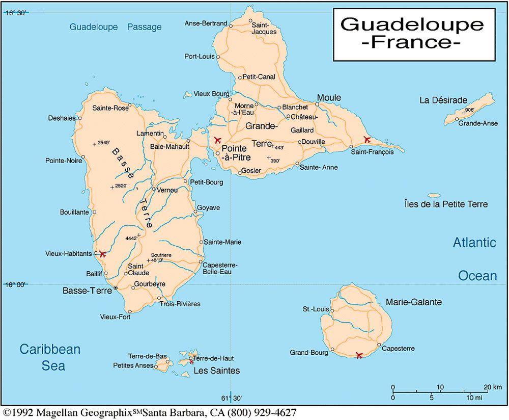 Carte Du Monde Guadeloupe.Carte De La Guadeloupe Carte Du Departement Et De La Region
