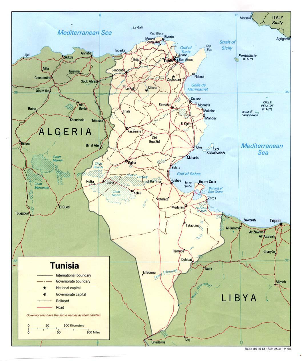 Carte politique de la Tunisie