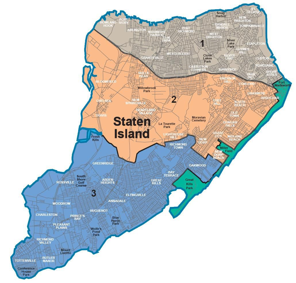 Carte du quartier de Staten Island à New York