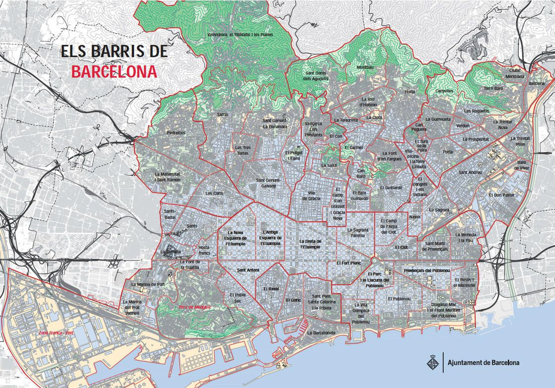 Carte des quartiers de Barcelone