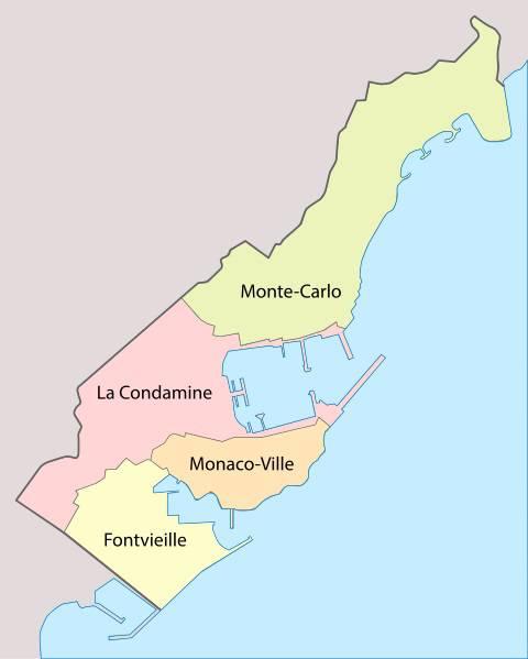 Carte des quartiers de Monaco