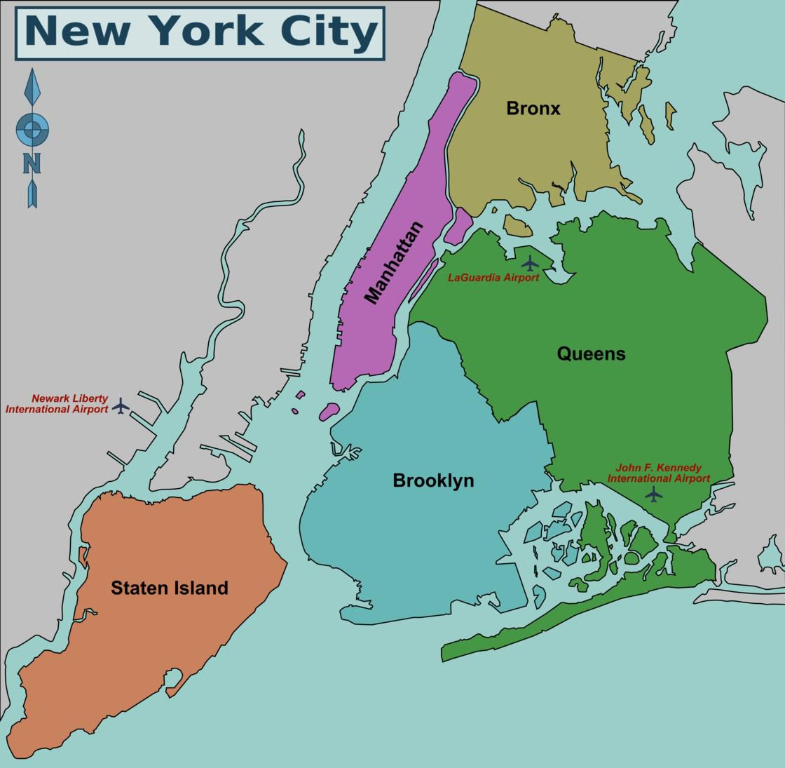Carte des quartiers et arrondissements de New York