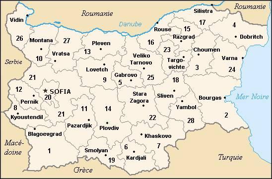 Carte des régions de la Bulgarie