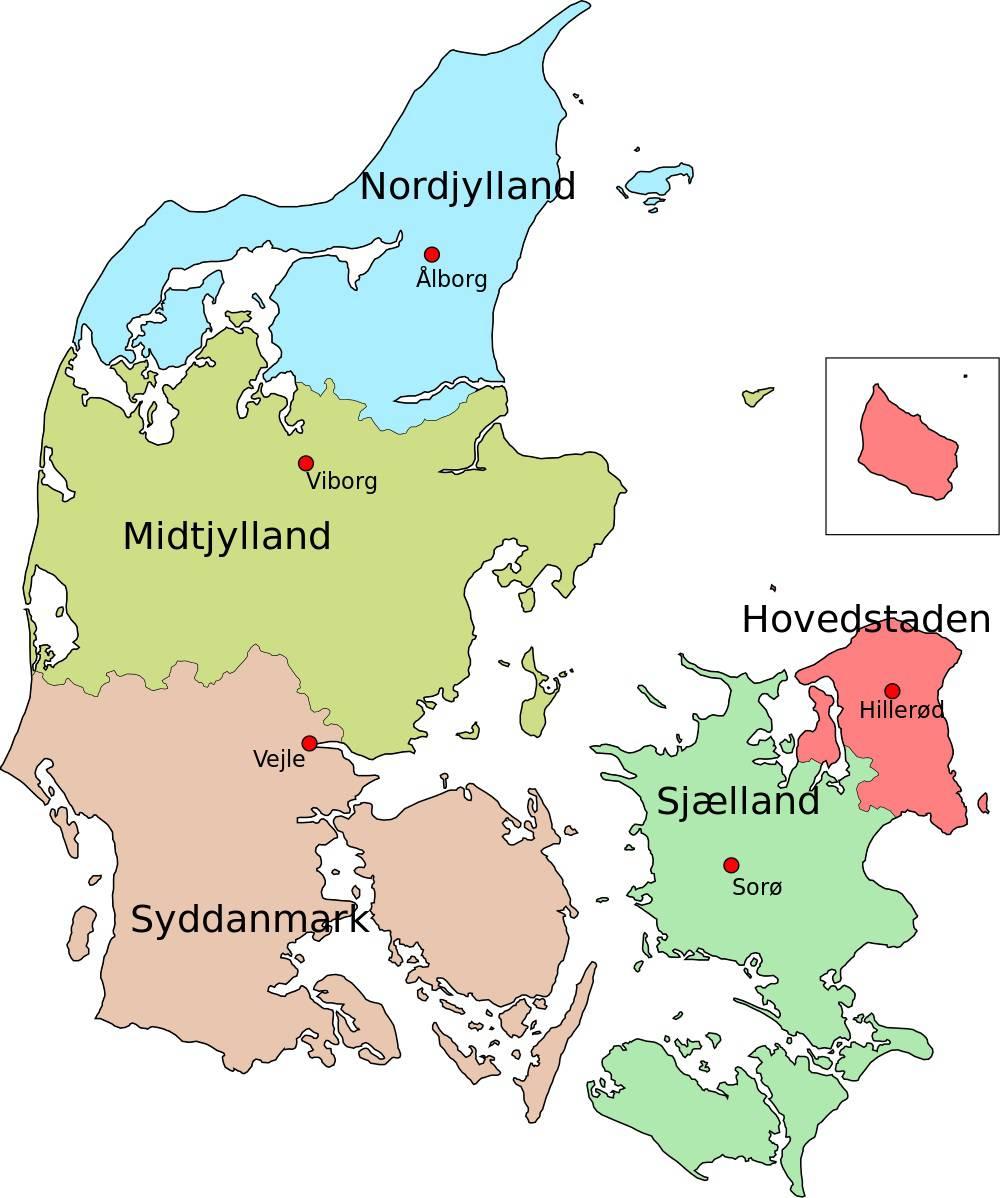 Carte des régions du Danemark