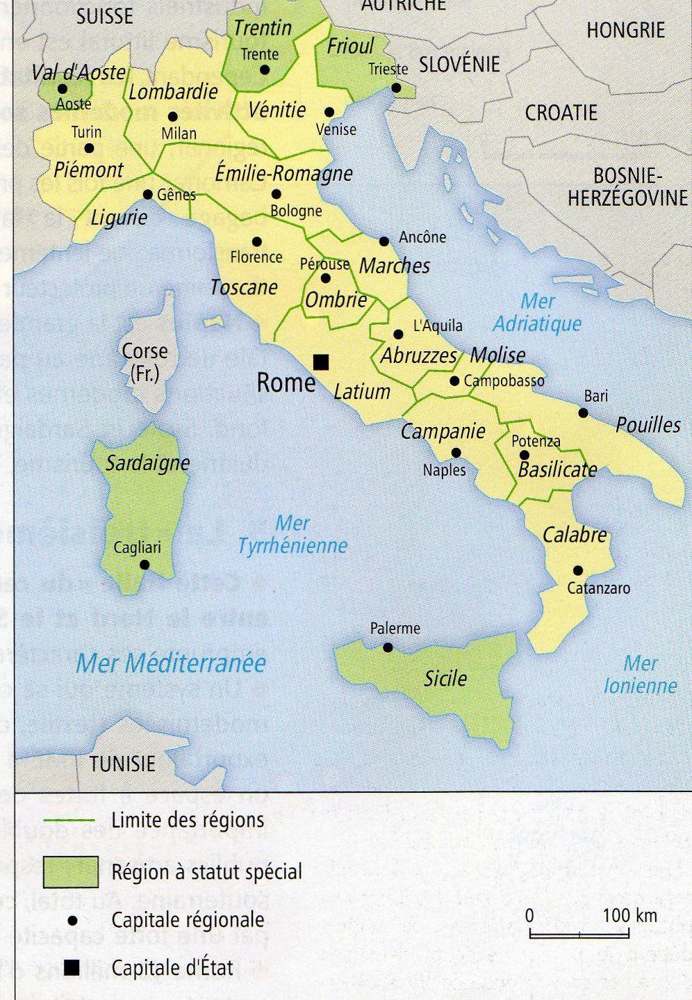 Carte des régions en Itlaie