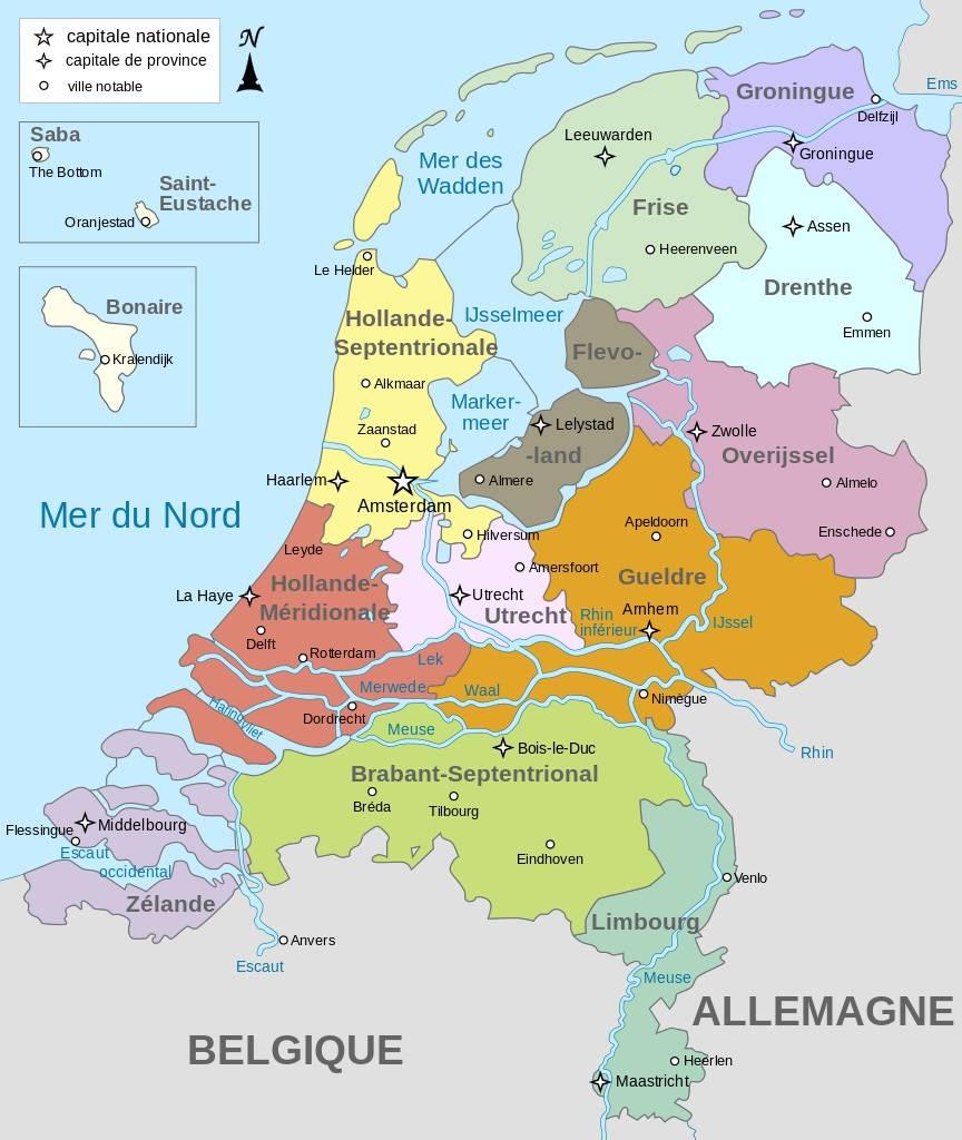 Carte des régions des Pays-Bas