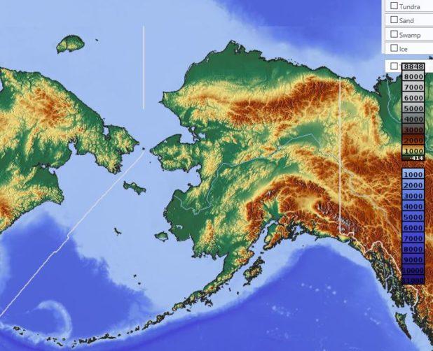 Carte du relief de l'Alaska