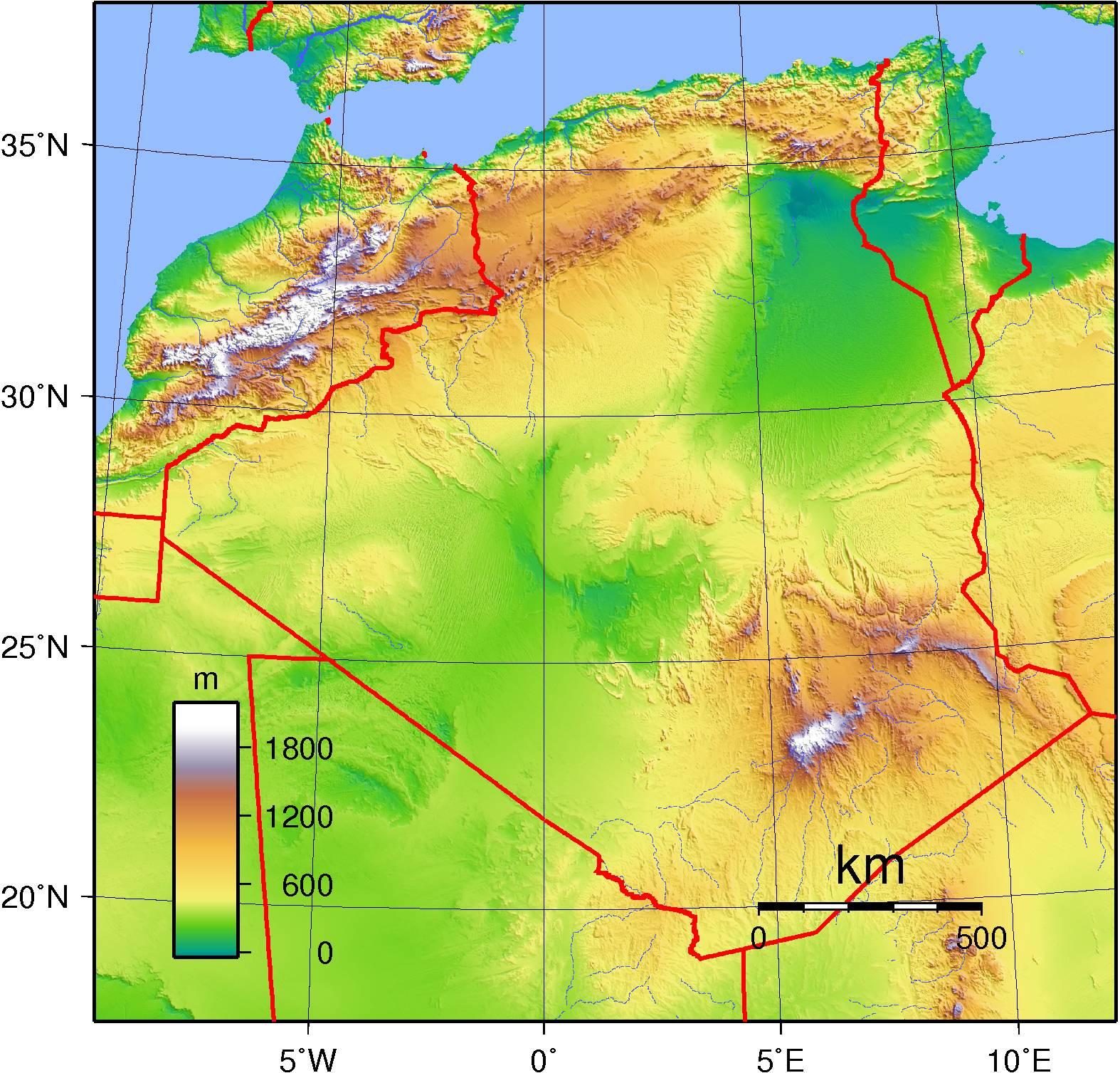 Carte du relief en Algérie