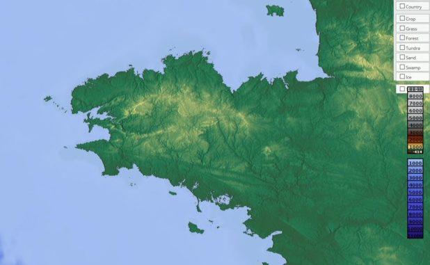Carte du relief de la Bretagne