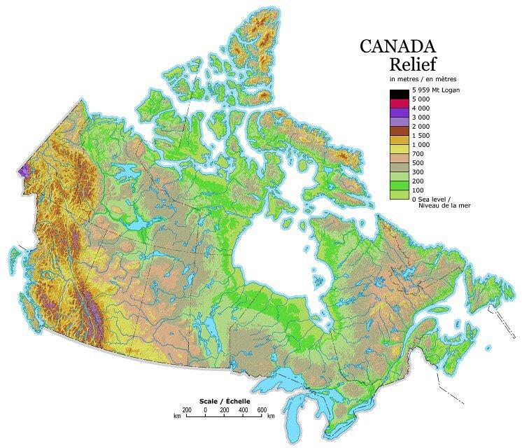 Carte du relief au Canada