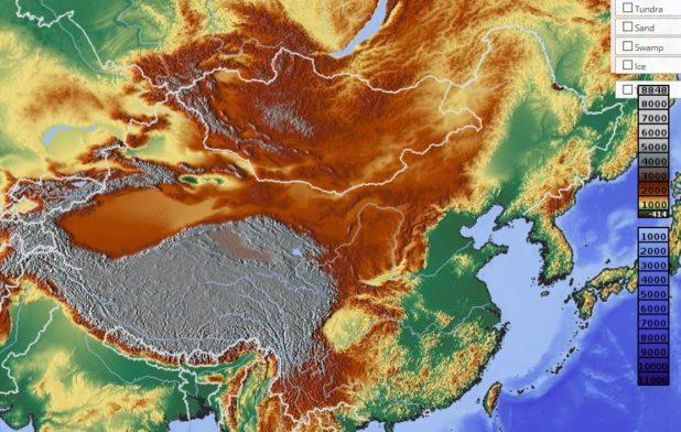 Carte du relief de la Chine