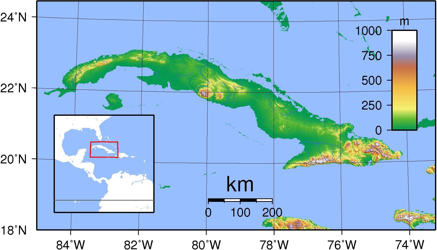 Carte du relief à Cuba