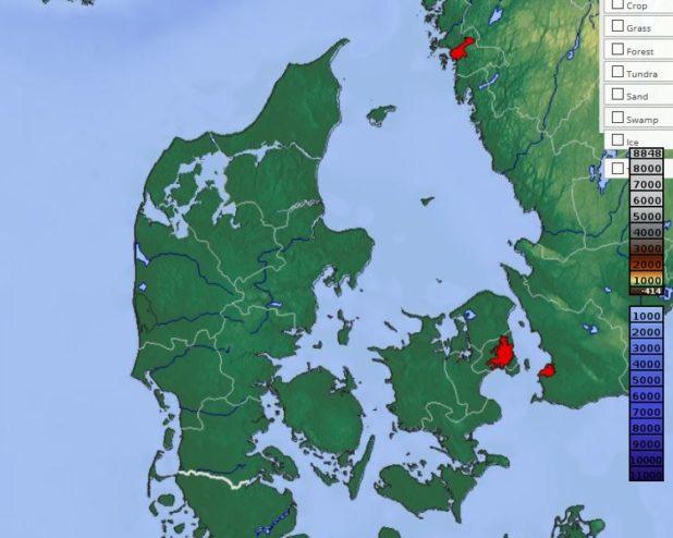 Carte du relief du Danemark