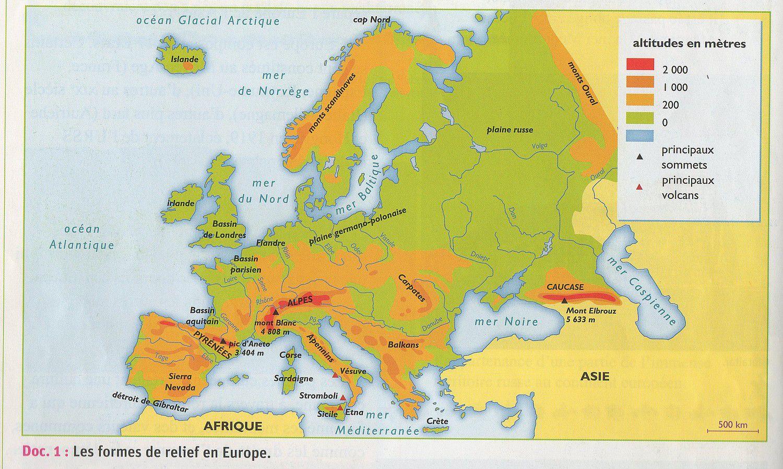 Carte du relief en Europe