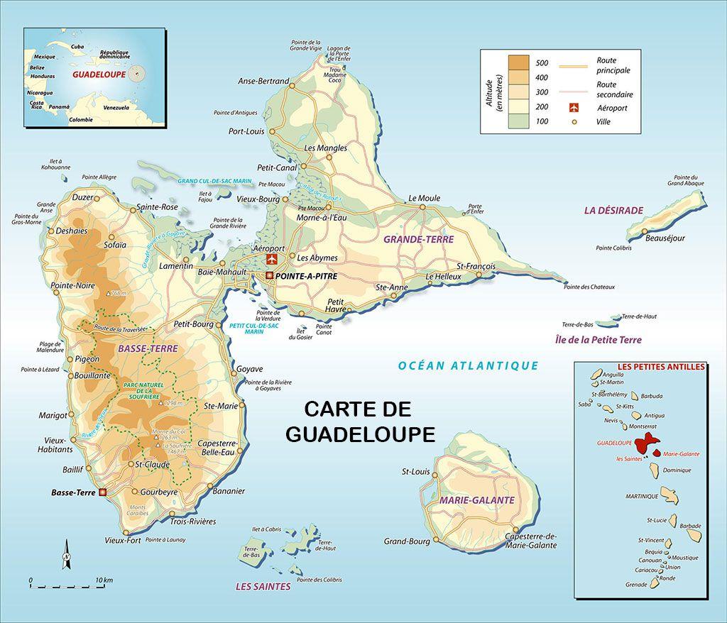 Carte de la Guadeloupe   Carte du département et de la région