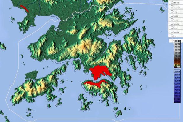 Carte du relief de Hong Kong