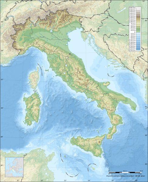 Carte de l'Italie sur le relief