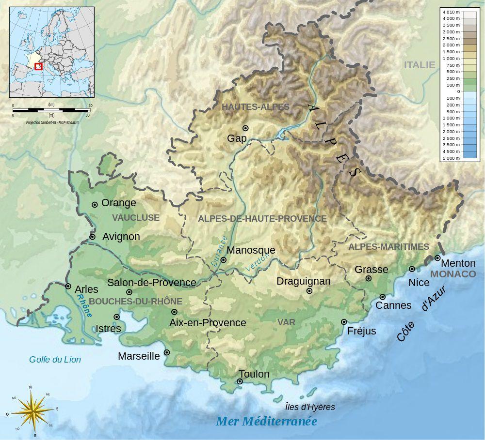 Carte relief PACA (Provence Alpes Côte d'Azur)