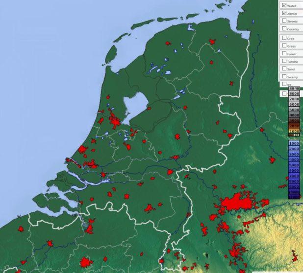 Carte du relief des Pays-Bas