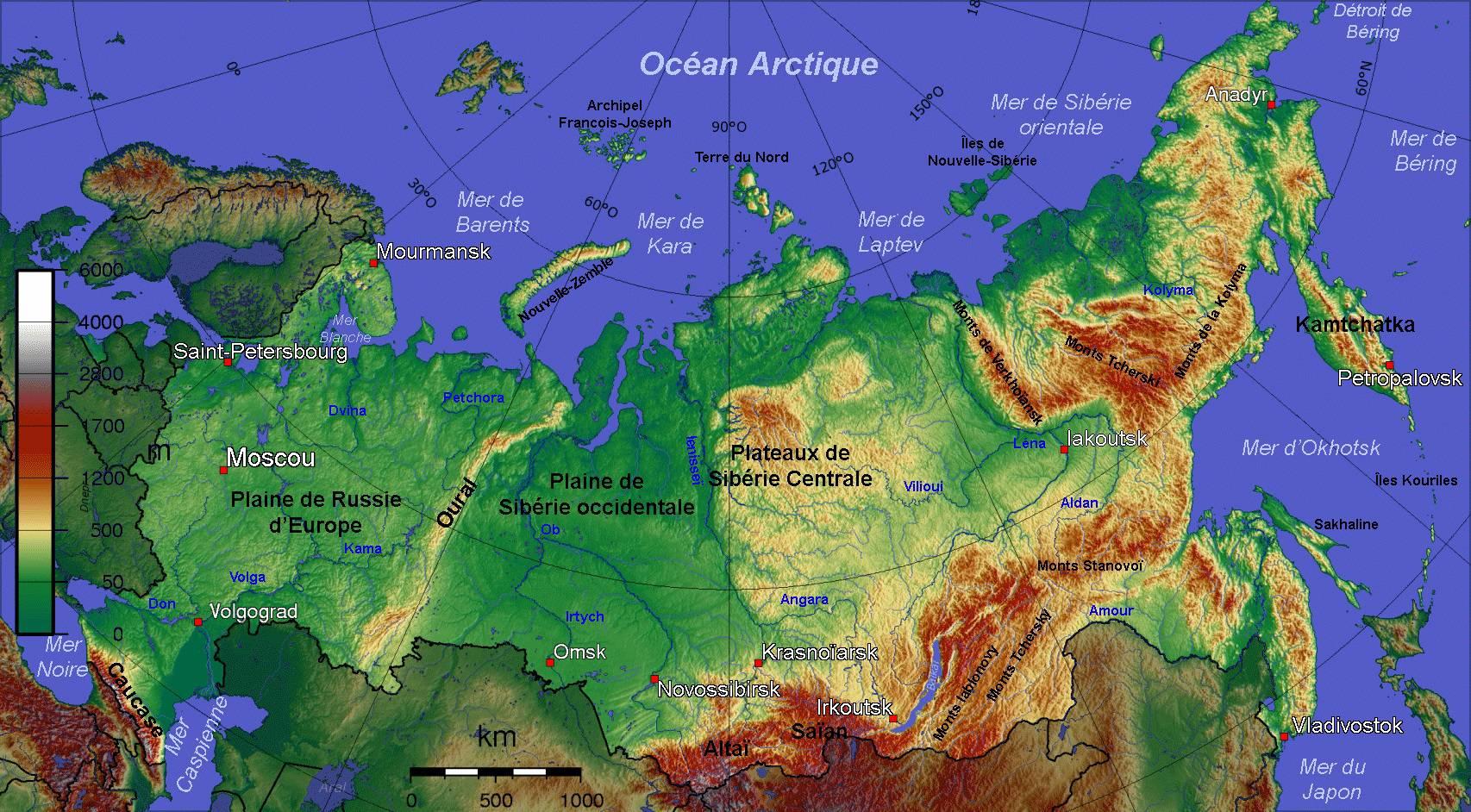 Carte de la russie plusieurs cartes sur le relief for Dans quel pays se trouve singapour