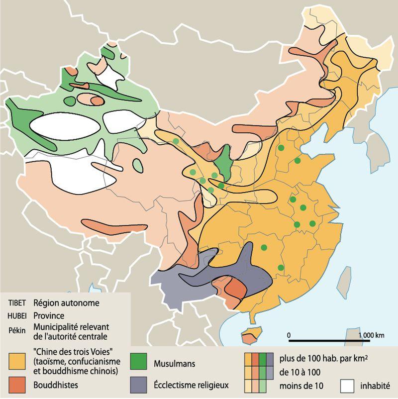 Carte des religions en Chine