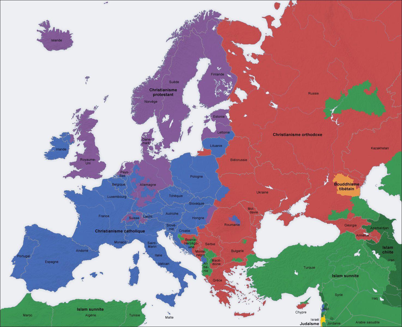 Carte des religions en Europe