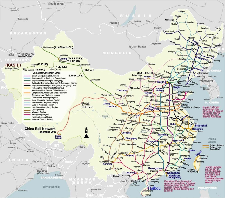 Carte du réseau ferroviaire en Chine