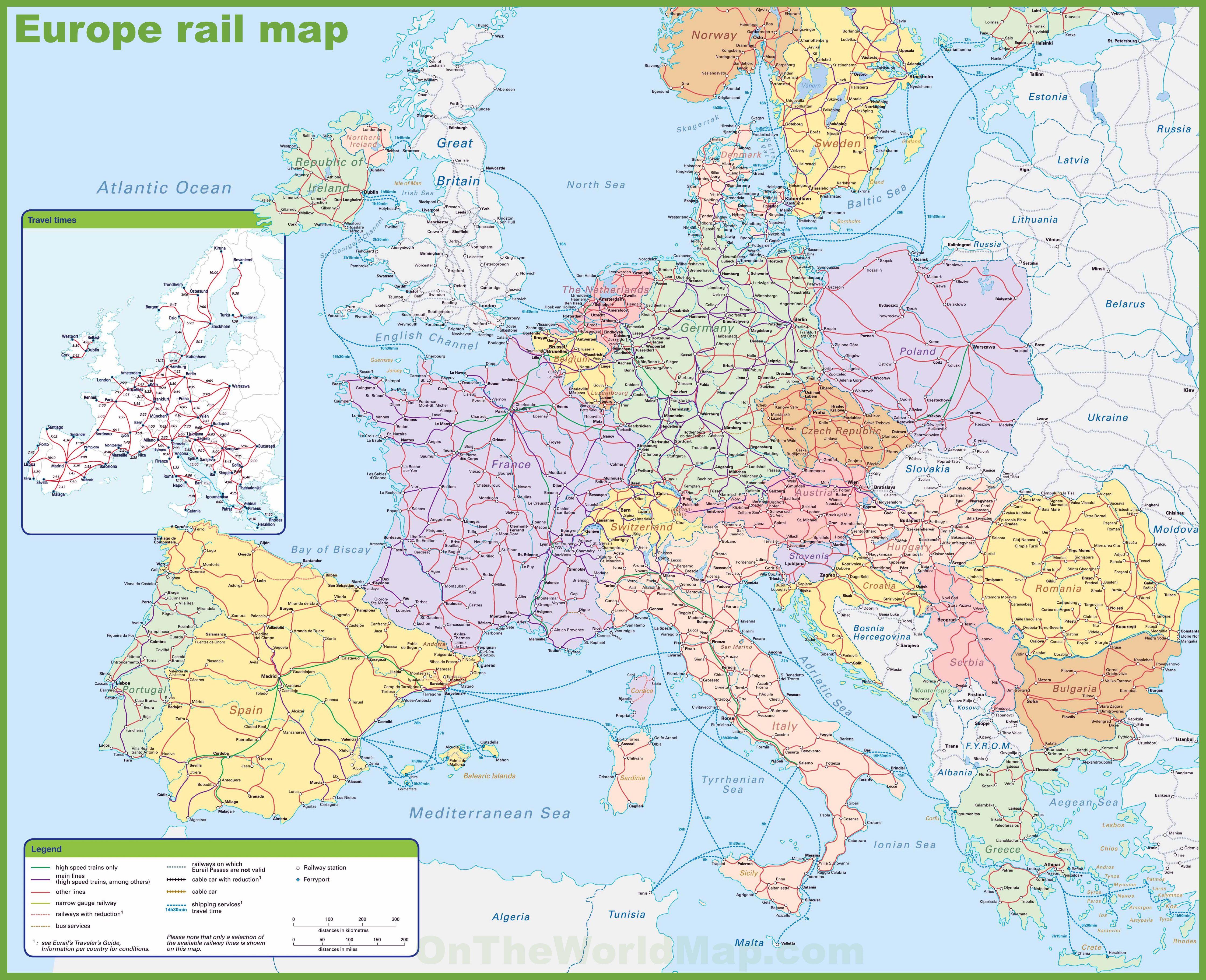 Carte Ferroviaire Deurope.Carte De L Europe Cartes Reliefs Villes Pays Euro Ue