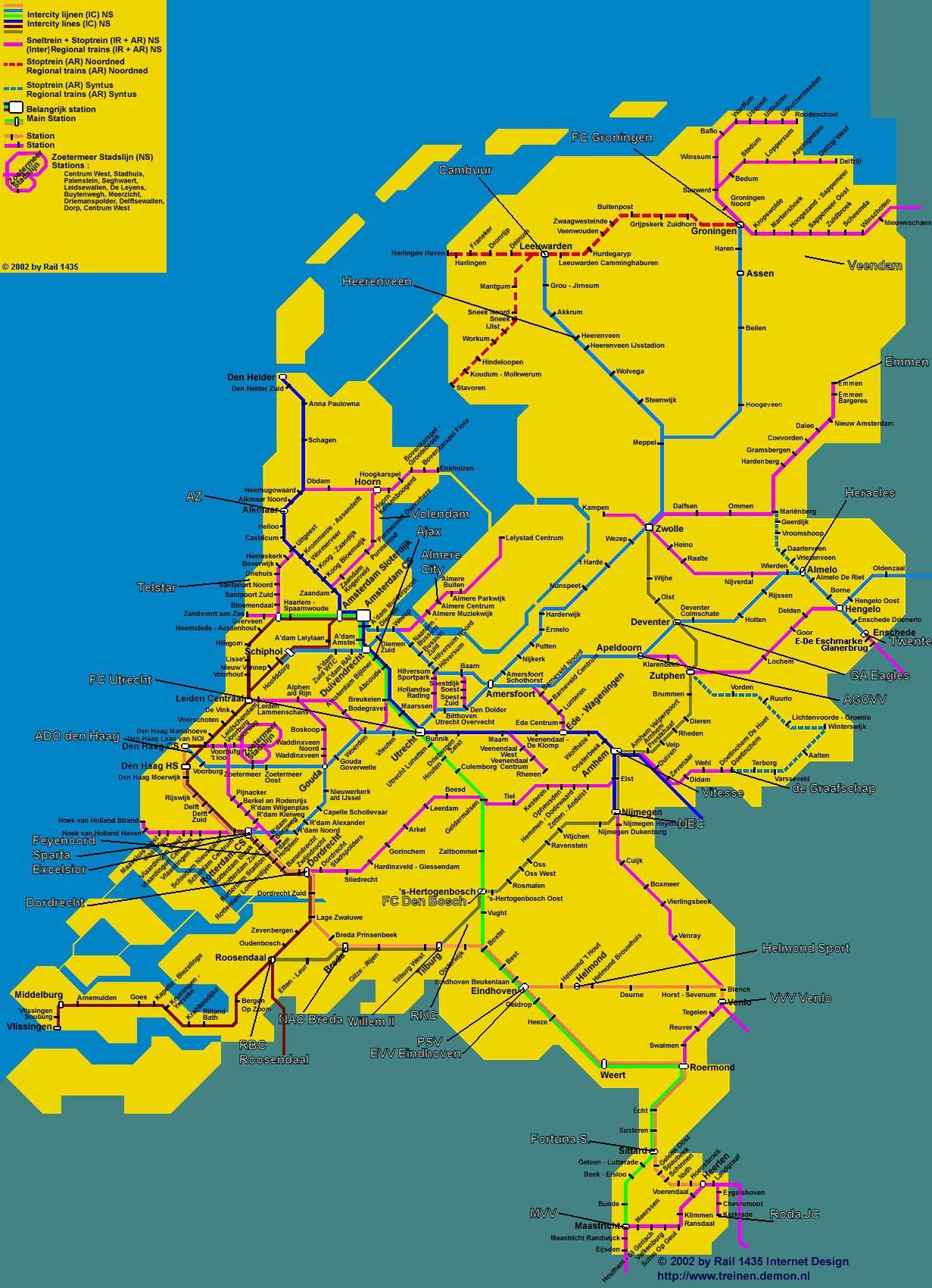 Carte réseau ferroviaire des Pays-Bas