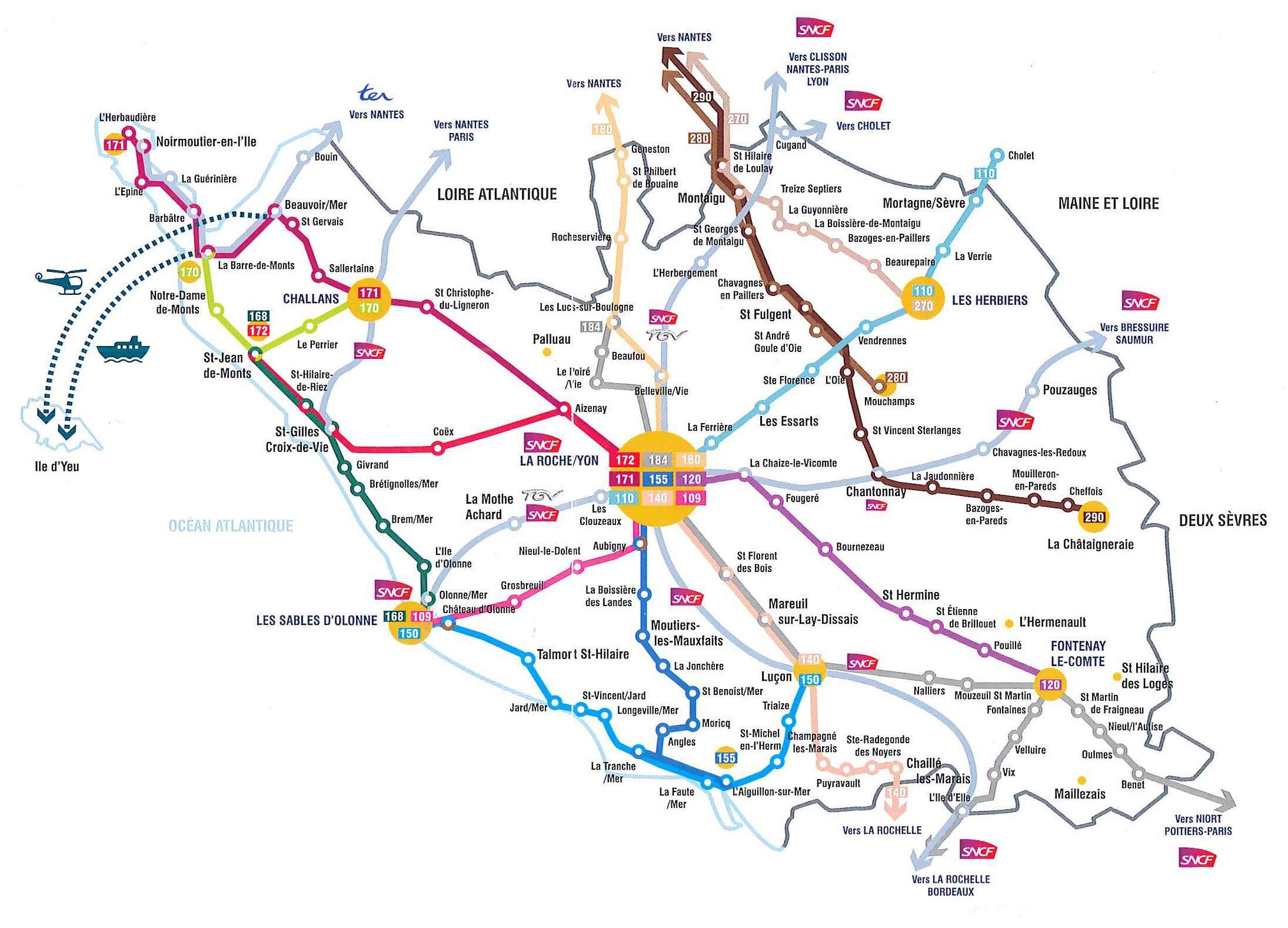 Carte Vendee Routiere.Carte De La Vendee Cartes Sur Les Villes Relief Sites