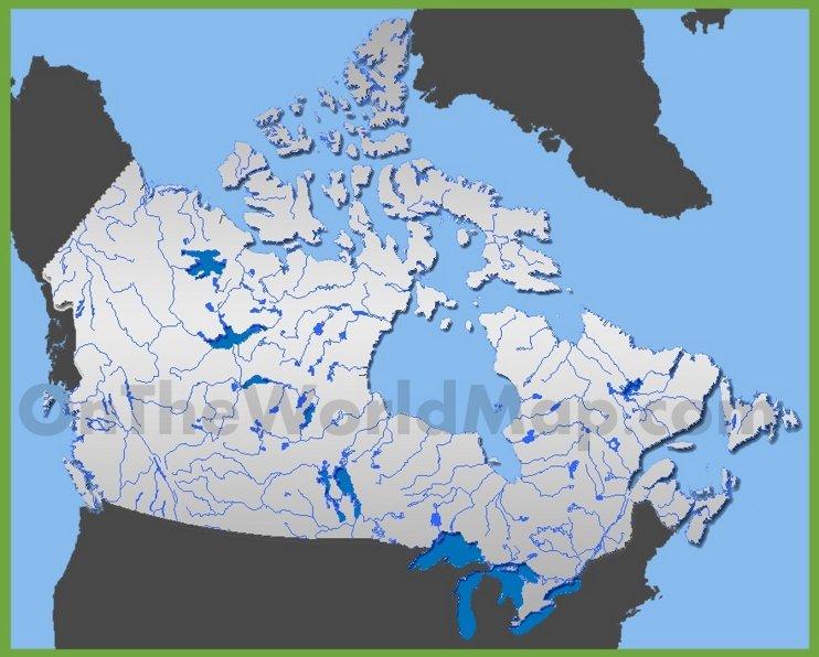 Carte des rivières et lacs au Canada
