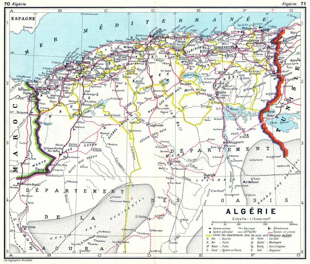 Carte des routes de l'Algérie