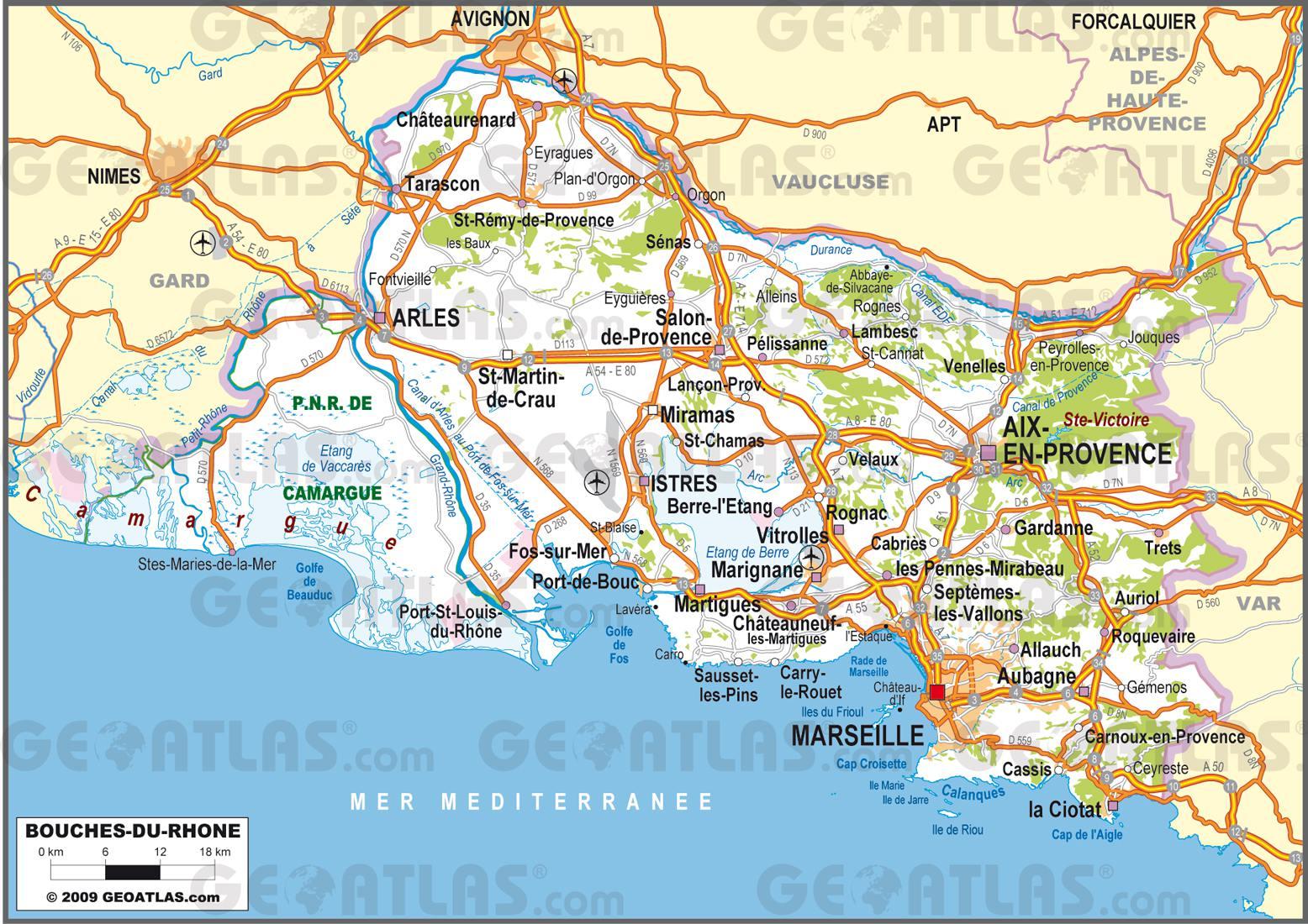 Carte des bouches du rh ne communes d taill e relief for Bouche rhone