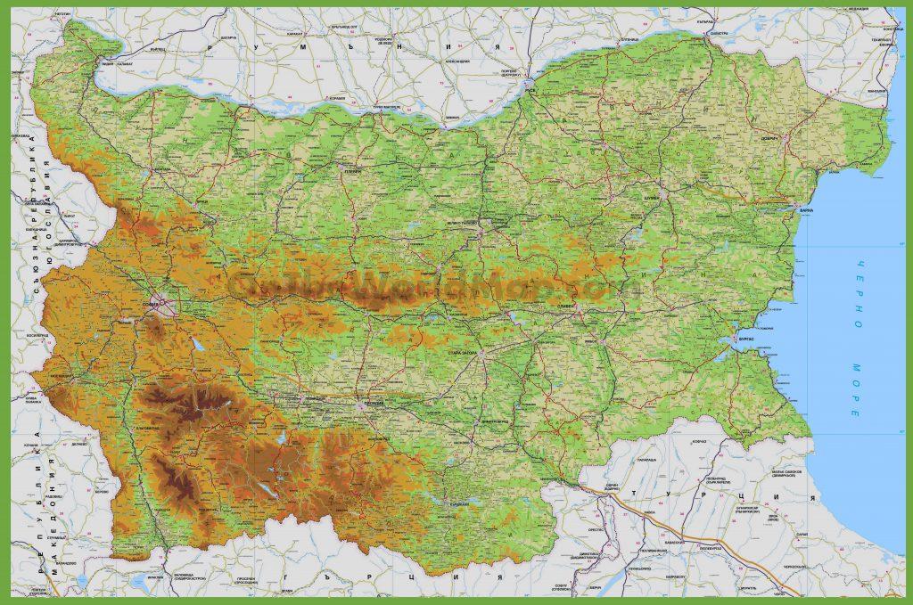 Carte routière de la Bulgarie