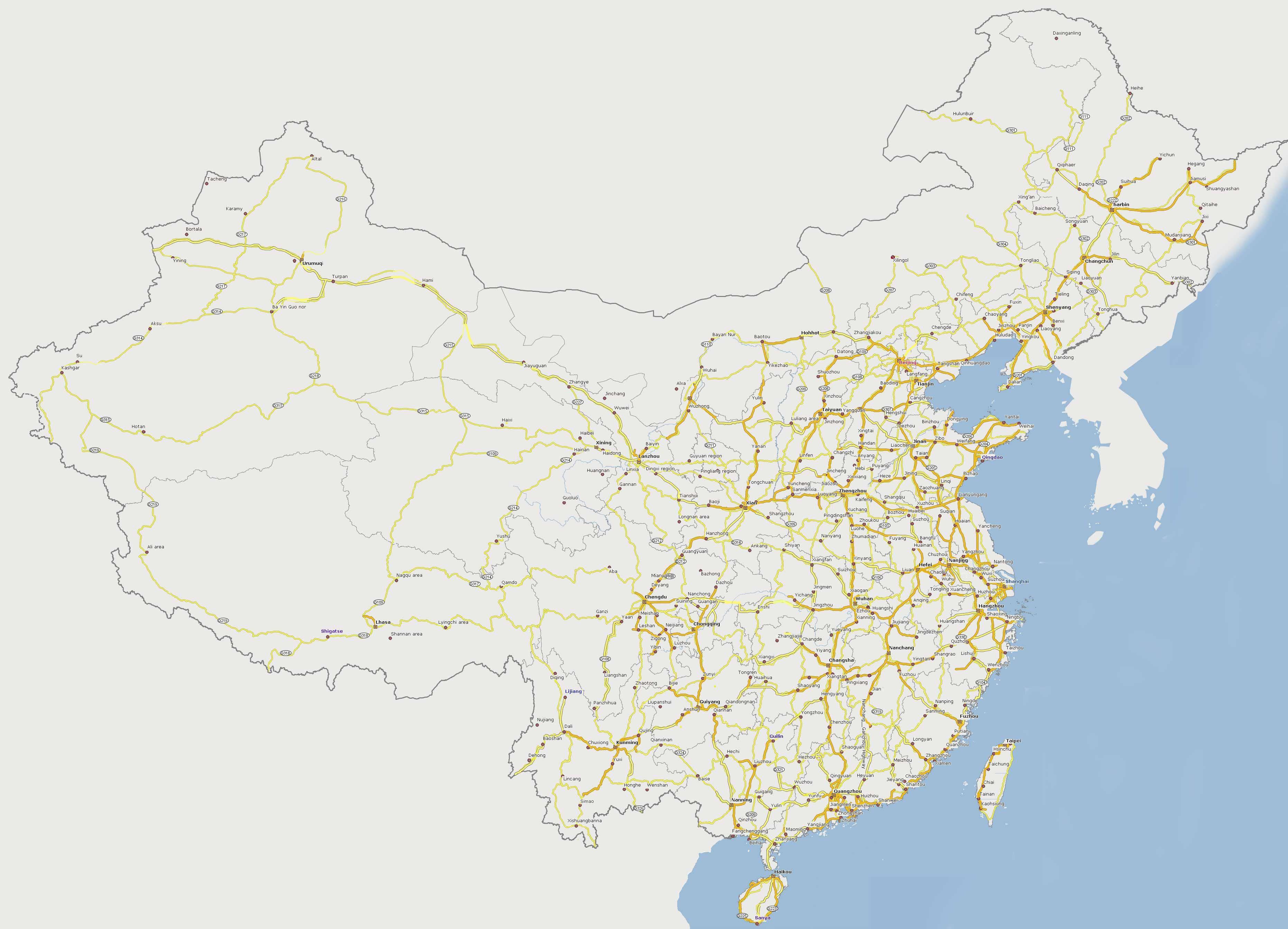 Carte Transport Chine.Carte De La Chine Relief Villes Carte Administrative Et