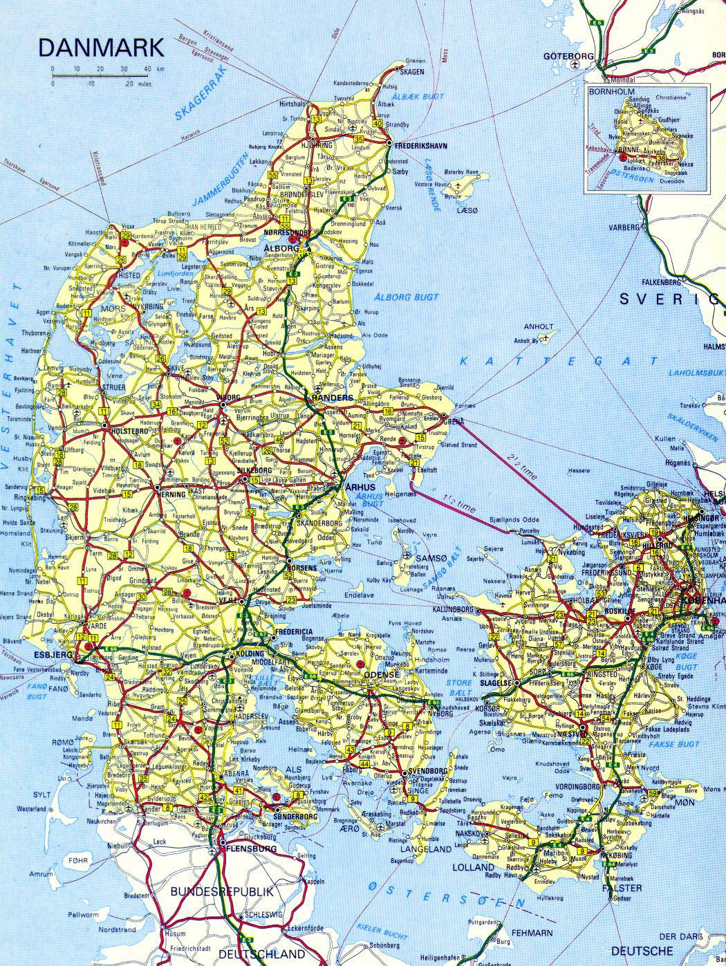 Carte du Danemark   Cartes du reliefs, des villes, administrative
