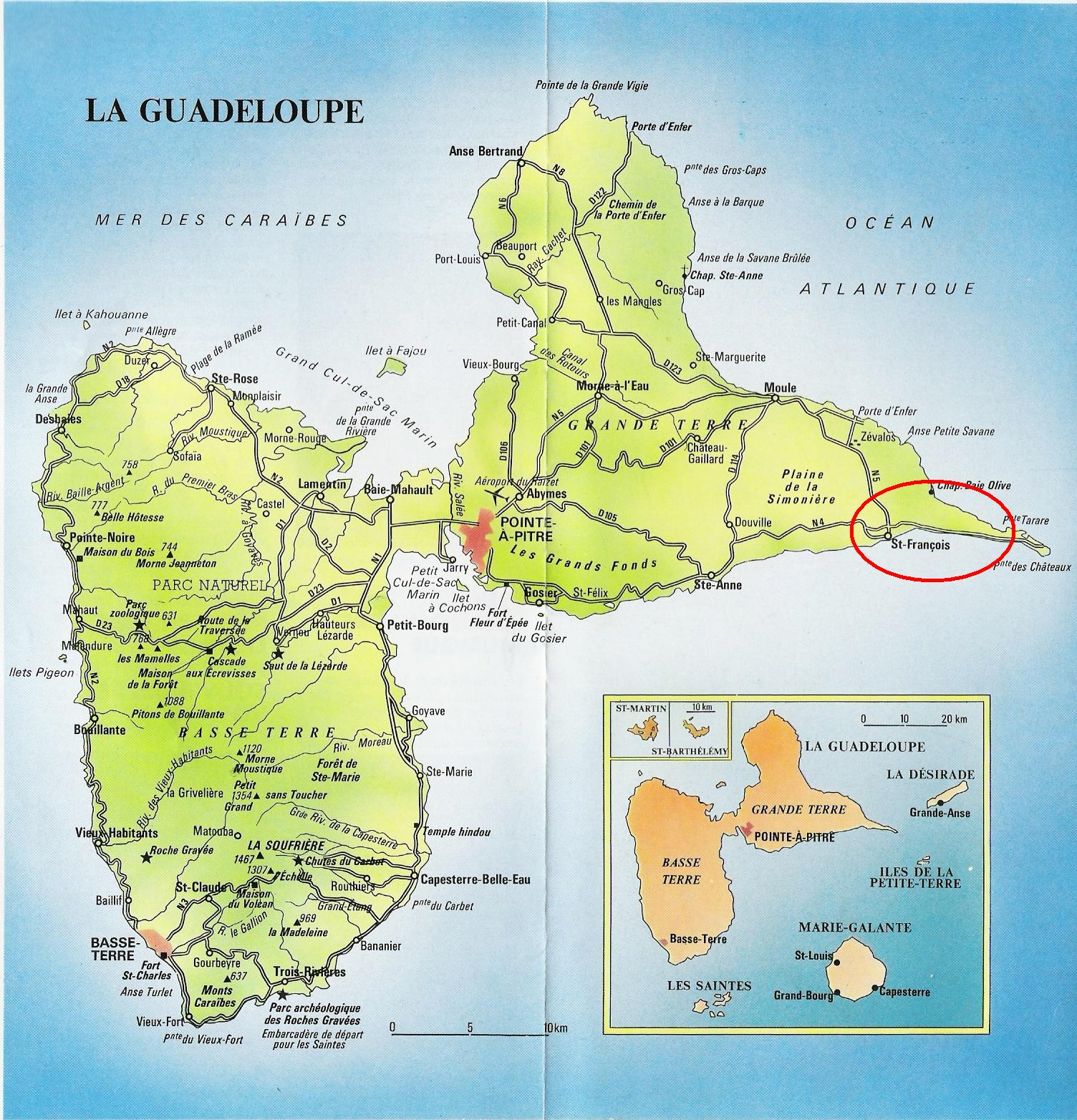 carte-geographique-de-la-guadeloupe - Photo