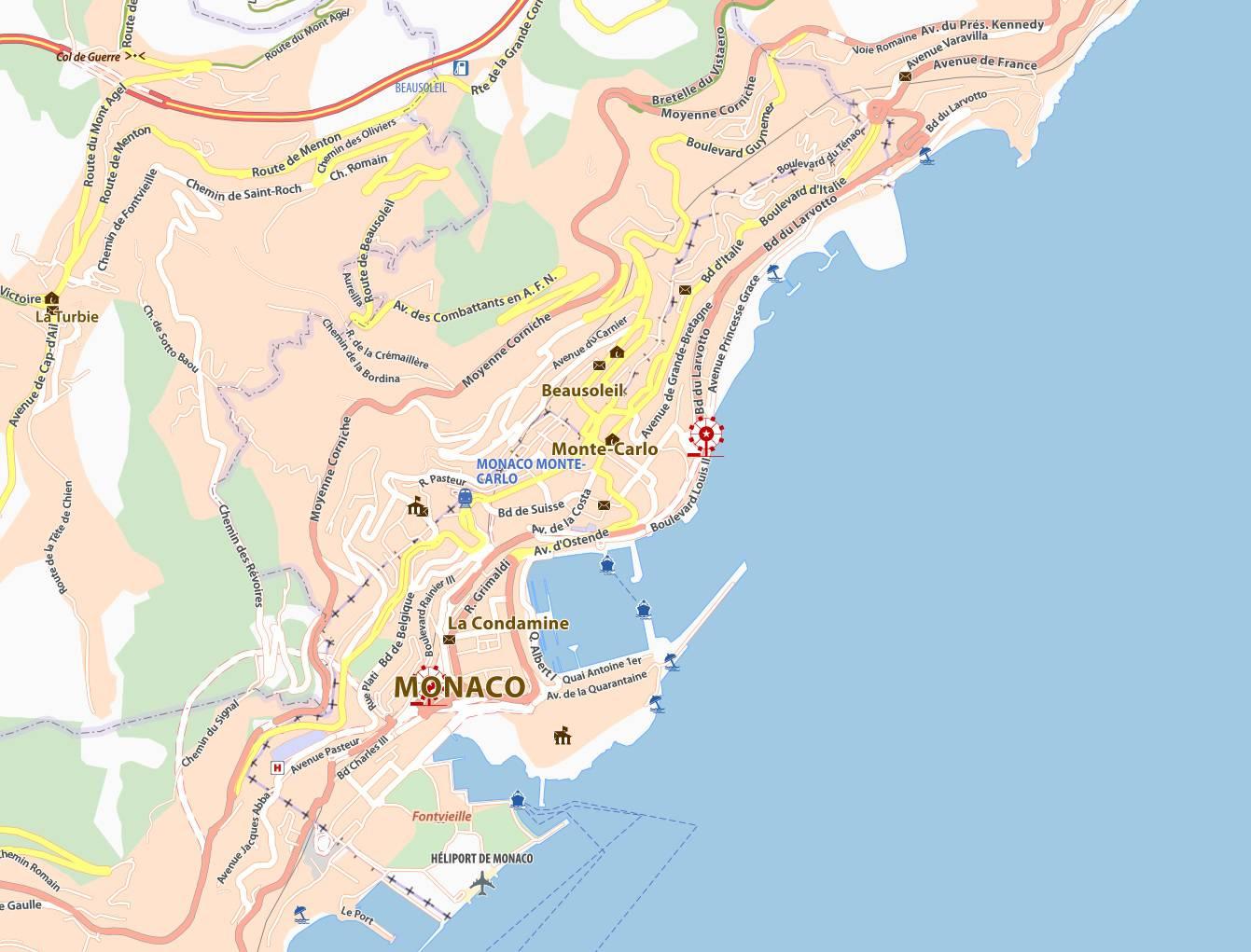 Carte routière de Monaco